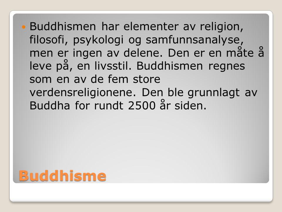 Buddhismen har elementer av religion, filosofi, psykologi og samfunnsanalyse, men er ingen av delene. Den er en måte å leve på, en livsstil. Buddhismen regnes som en av de fem store verdensreligionene. Den ble grunnlagt av Buddha for rundt 2500 år siden.