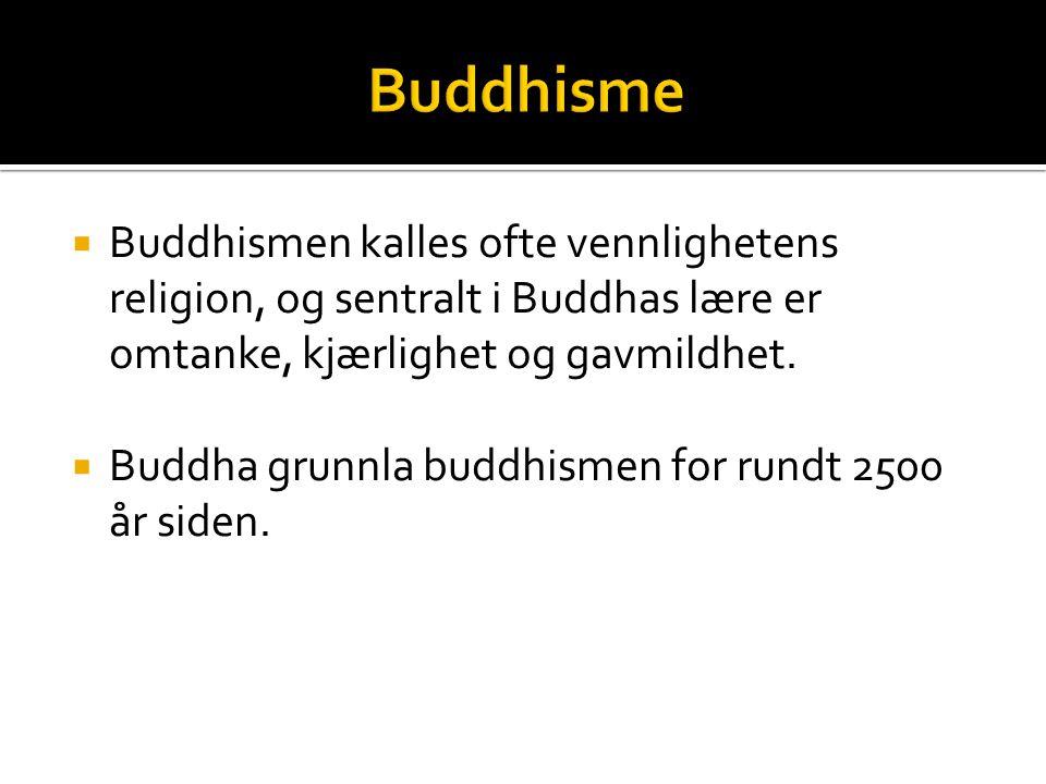 Buddhisme Buddhismen kalles ofte vennlighetens religion, og sentralt i Buddhas lære er omtanke, kjærlighet og gavmildhet.