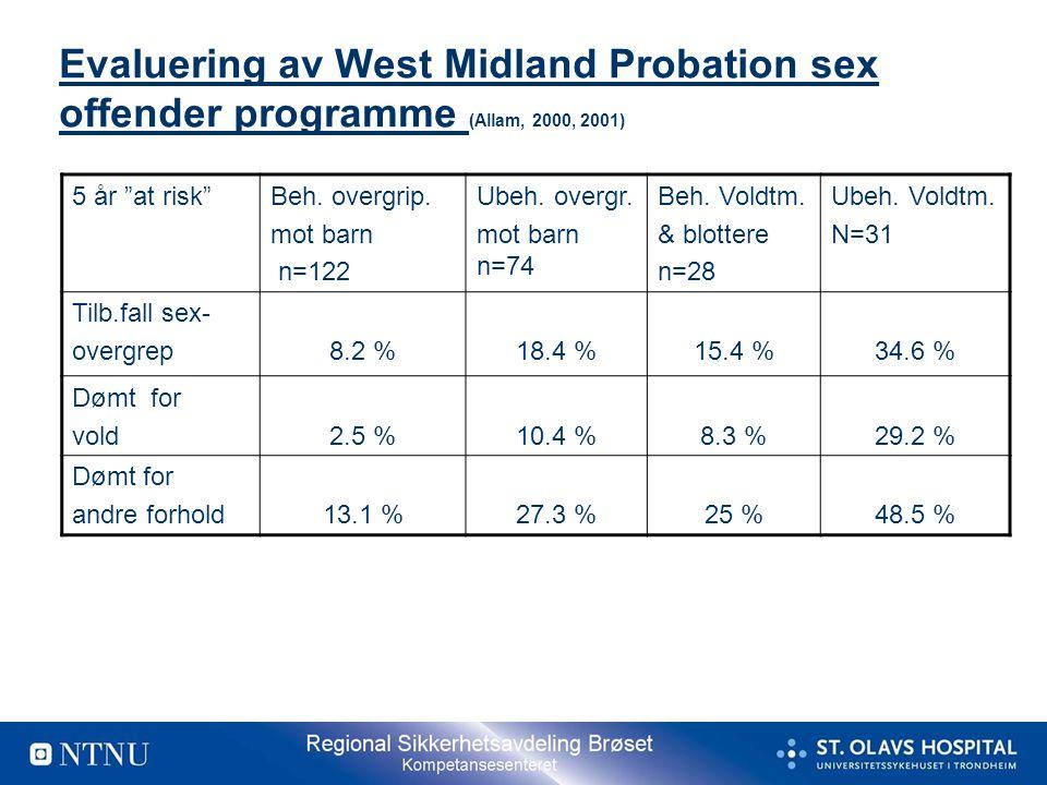 Evaluering av West Midland Probation sex offender programme (Allam, 2000, 2001)