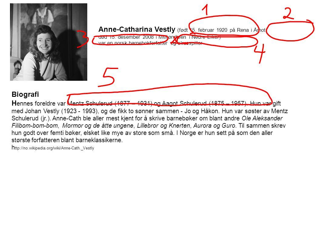 Anne-Catharina Vestly (født 15. februar 1920 på Rena i Åmot,