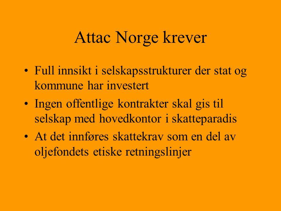 Attac Norge krever Full innsikt i selskapsstrukturer der stat og kommune har investert.