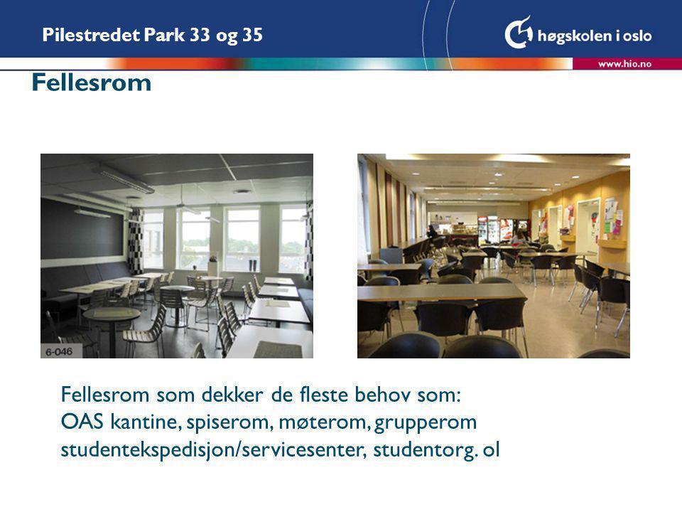 Fellesrom Fellesrom som dekker de fleste behov som: OAS kantine, spiserom, møterom, grupperom studentekspedisjon/servicesenter, studentorg.