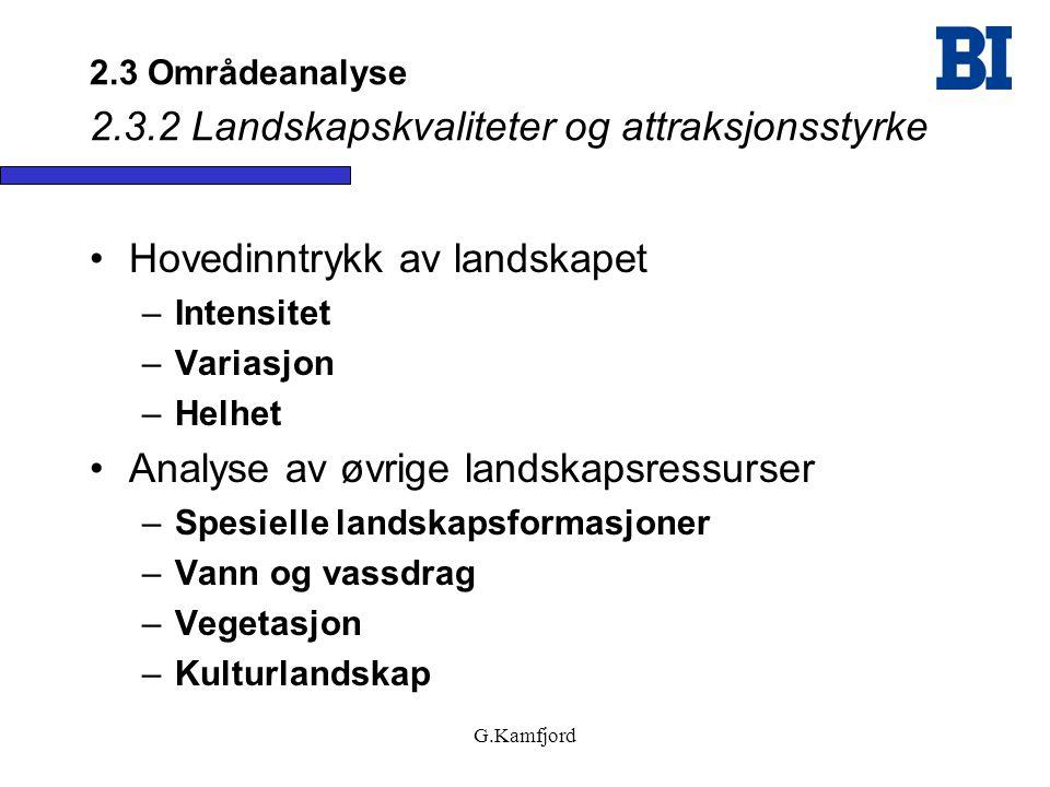 2.3 Områdeanalyse 2.3.2 Landskapskvaliteter og attraksjonsstyrke