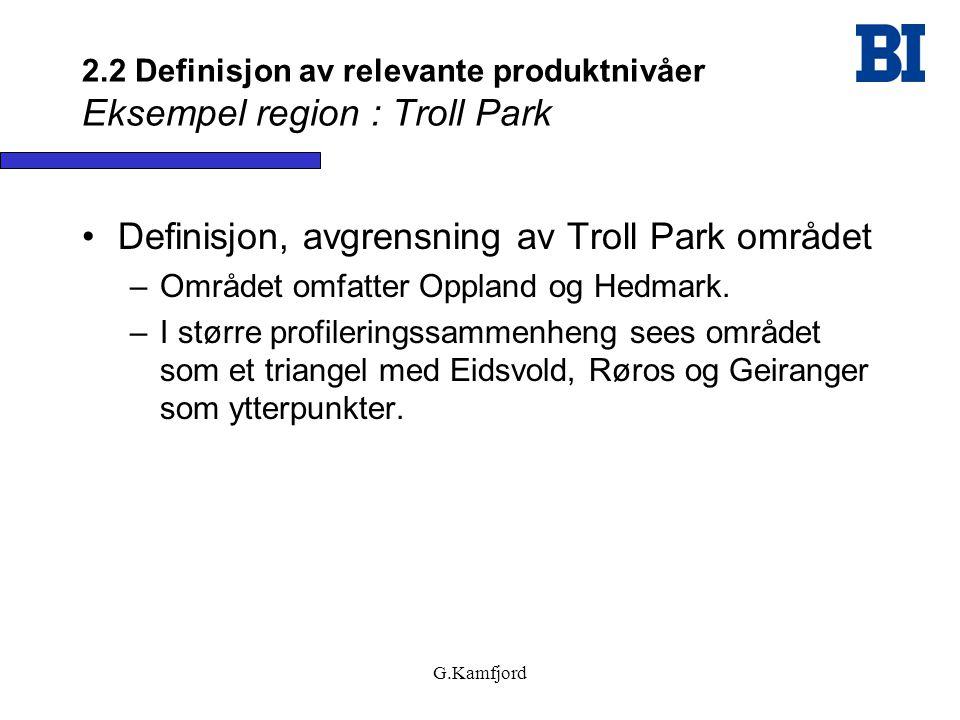 2.2 Definisjon av relevante produktnivåer Eksempel region : Troll Park