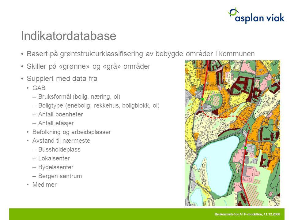 Indikatordatabase Basert på grøntstrukturklassifisering av bebygde områder i kommunen. Skiller på «grønne» og «grå» områder.