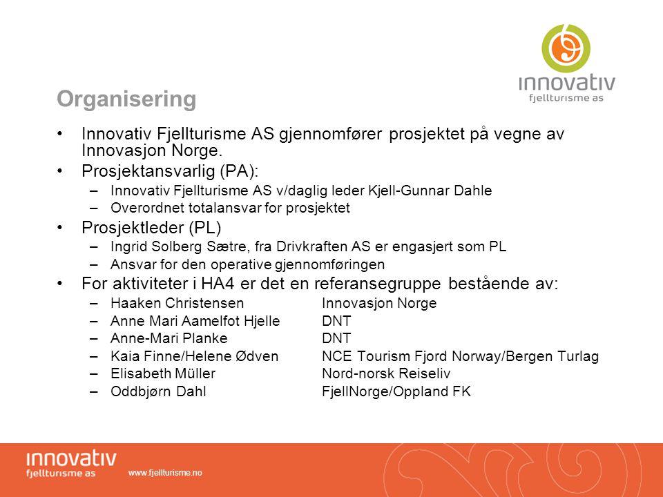 Organisering Innovativ Fjellturisme AS gjennomfører prosjektet på vegne av Innovasjon Norge. Prosjektansvarlig (PA):