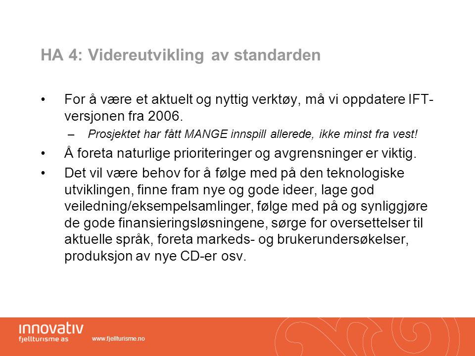 HA 4: Videreutvikling av standarden