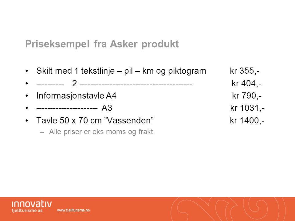 Priseksempel fra Asker produkt