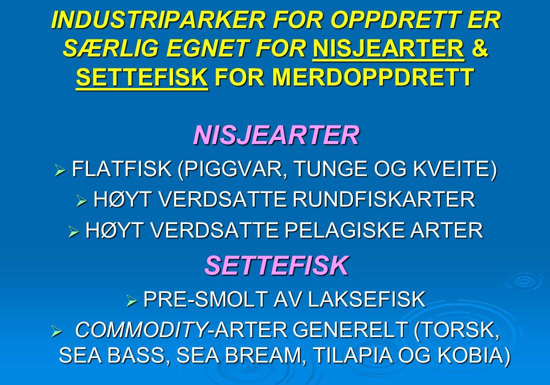 INDUSTRIPARKER FOR OPPDRETT ER SÆRLIG EGNET FOR NISJEARTER & SETTEFISK FOR MERDOPPDRETT