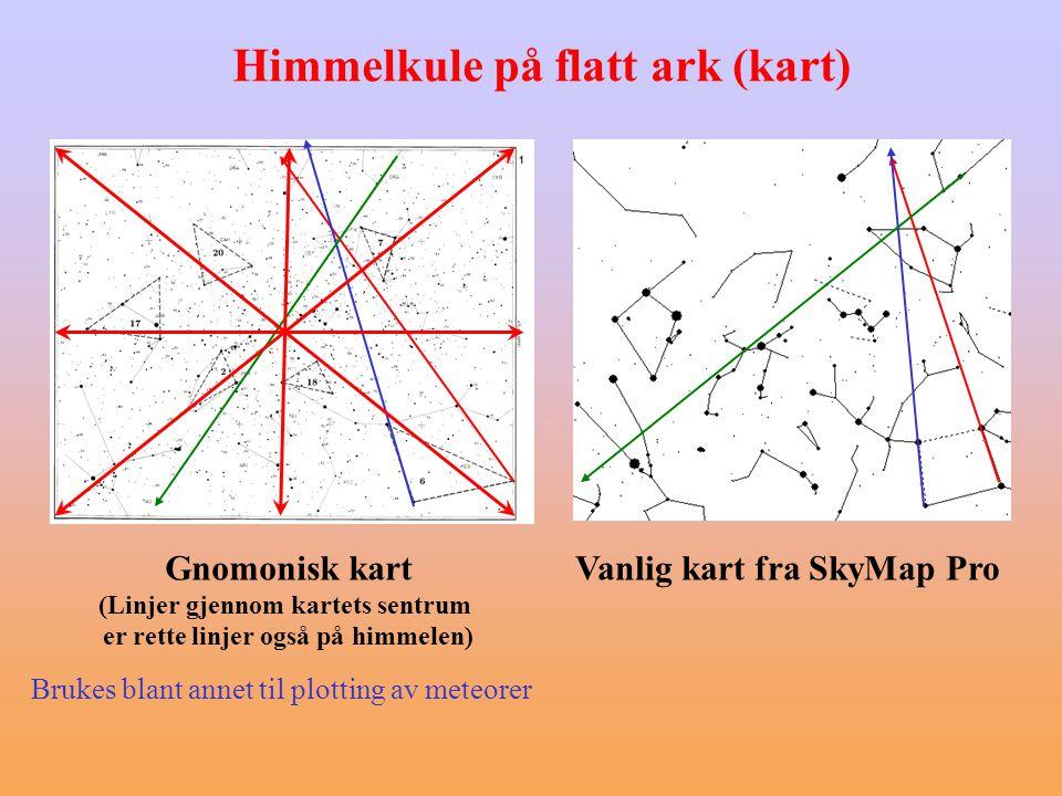 (Linjer gjennom kartets sentrum er rette linjer også på himmelen)