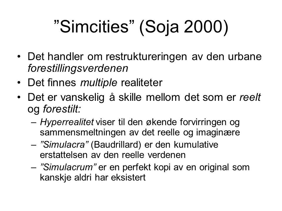 Simcities (Soja 2000) Det handler om restruktureringen av den urbane forestillingsverdenen. Det finnes multiple realiteter.