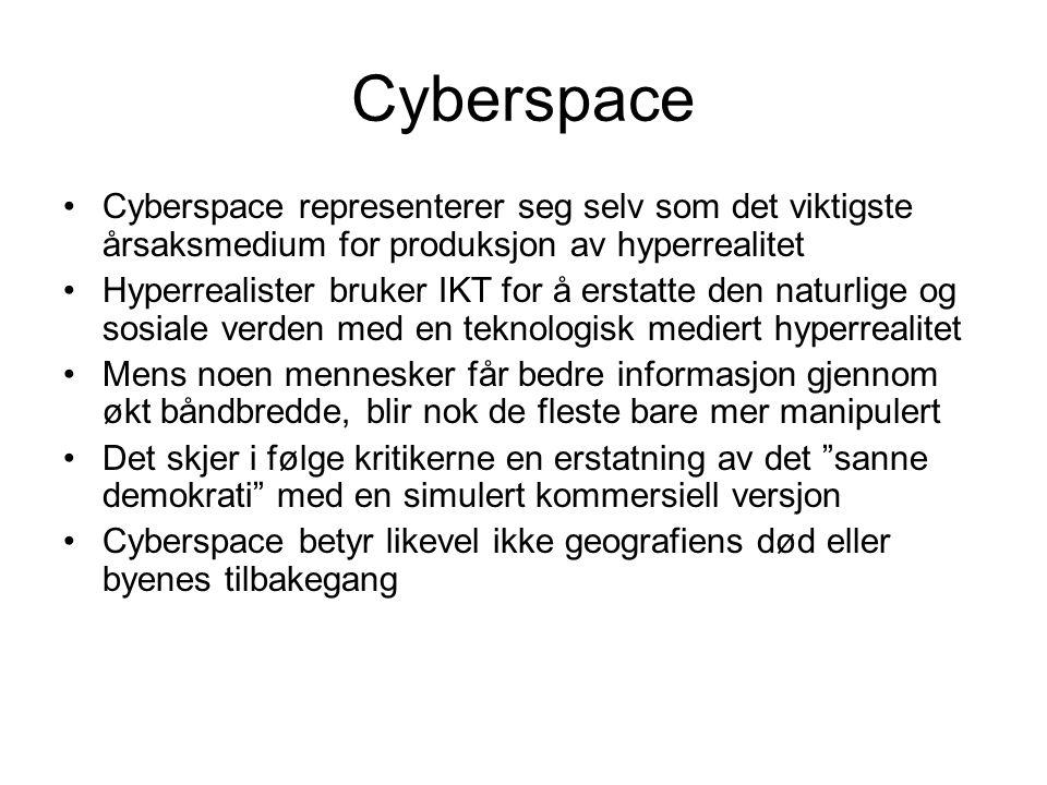 Cyberspace Cyberspace representerer seg selv som det viktigste årsaksmedium for produksjon av hyperrealitet.