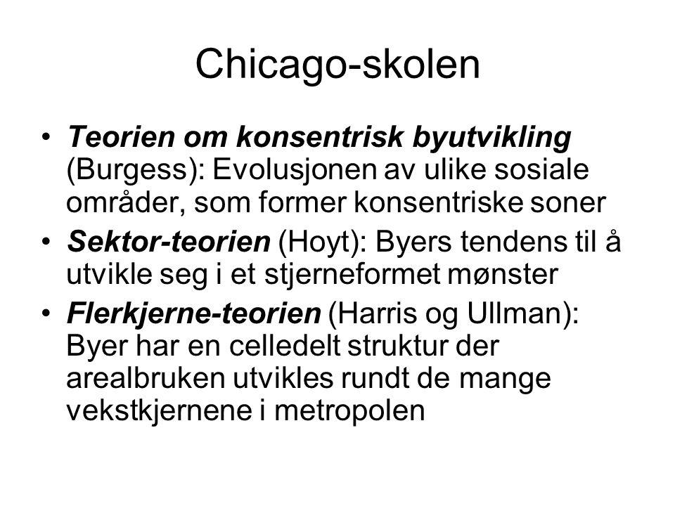 Chicago-skolen Teorien om konsentrisk byutvikling (Burgess): Evolusjonen av ulike sosiale områder, som former konsentriske soner.