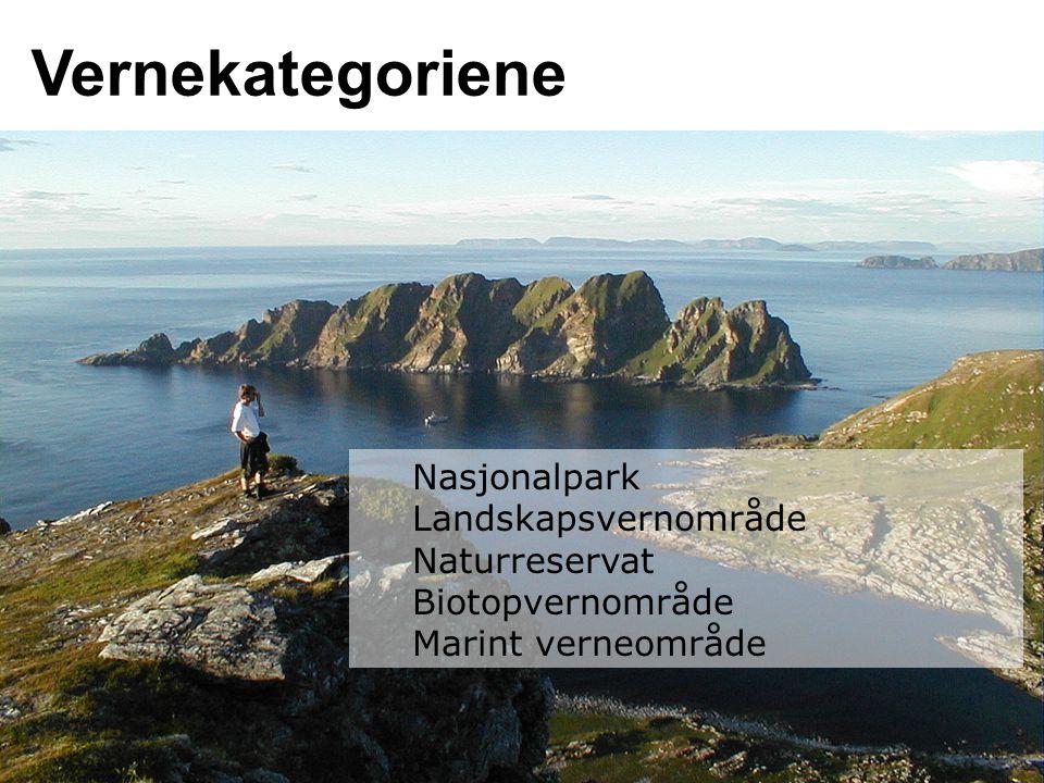 Vernekategoriene Nasjonalpark Landskapsvernområde Naturreservat
