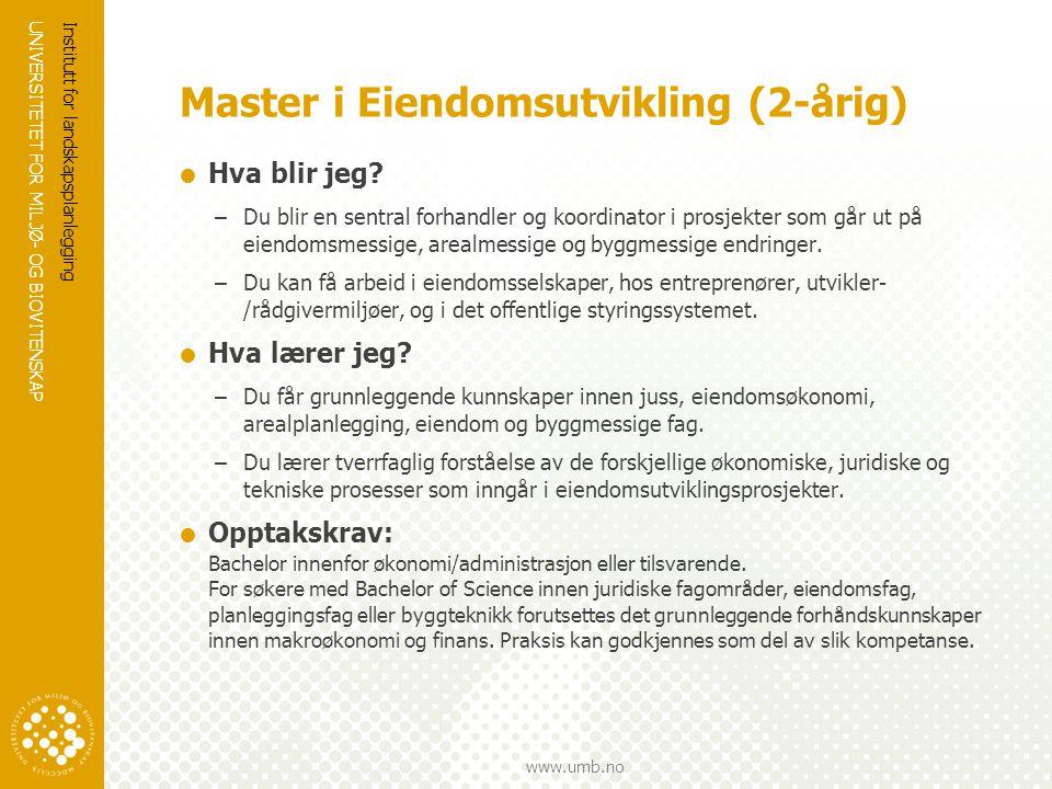 Master i Eiendomsutvikling (2-årig)