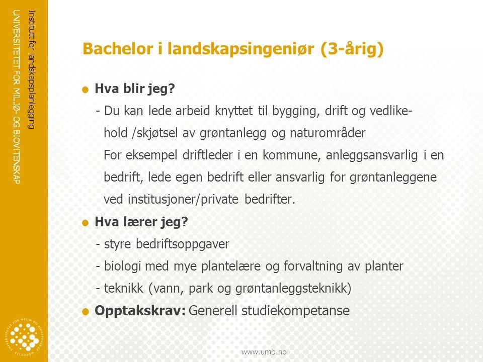 Bachelor i landskapsingeniør (3-årig)