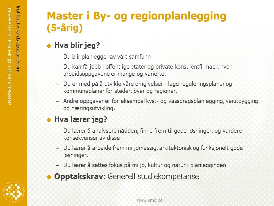 Master i By- og regionplanlegging (5-årig)