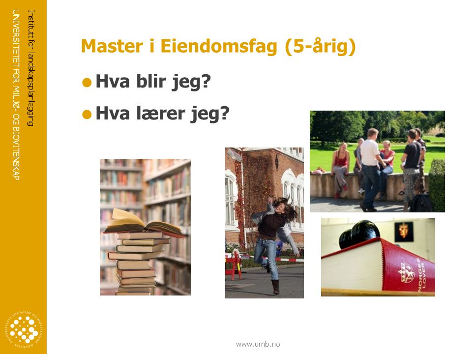 Master i Eiendomsfag (5-årig)