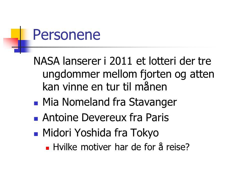 Personene NASA lanserer i 2011 et lotteri der tre ungdommer mellom fjorten og atten kan vinne en tur til månen.