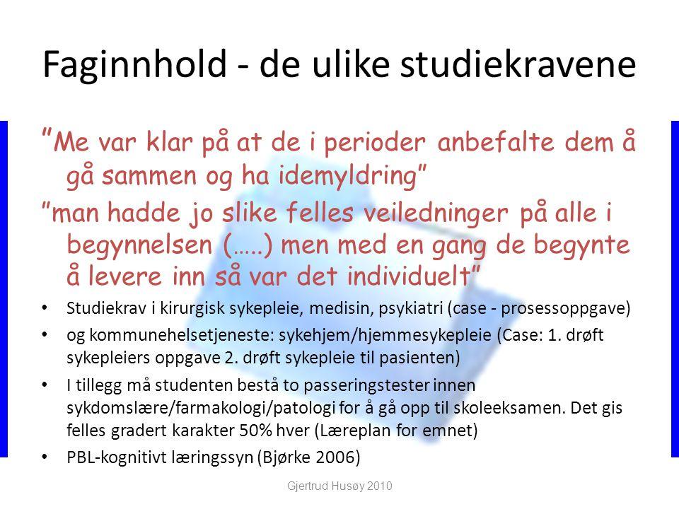 Faginnhold - de ulike studiekravene
