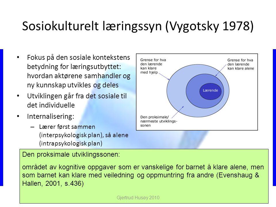 Sosiokulturelt læringssyn (Vygotsky 1978)
