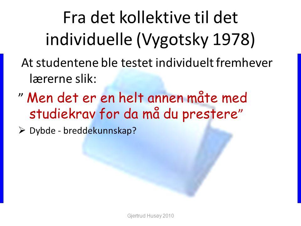 Fra det kollektive til det individuelle (Vygotsky 1978)