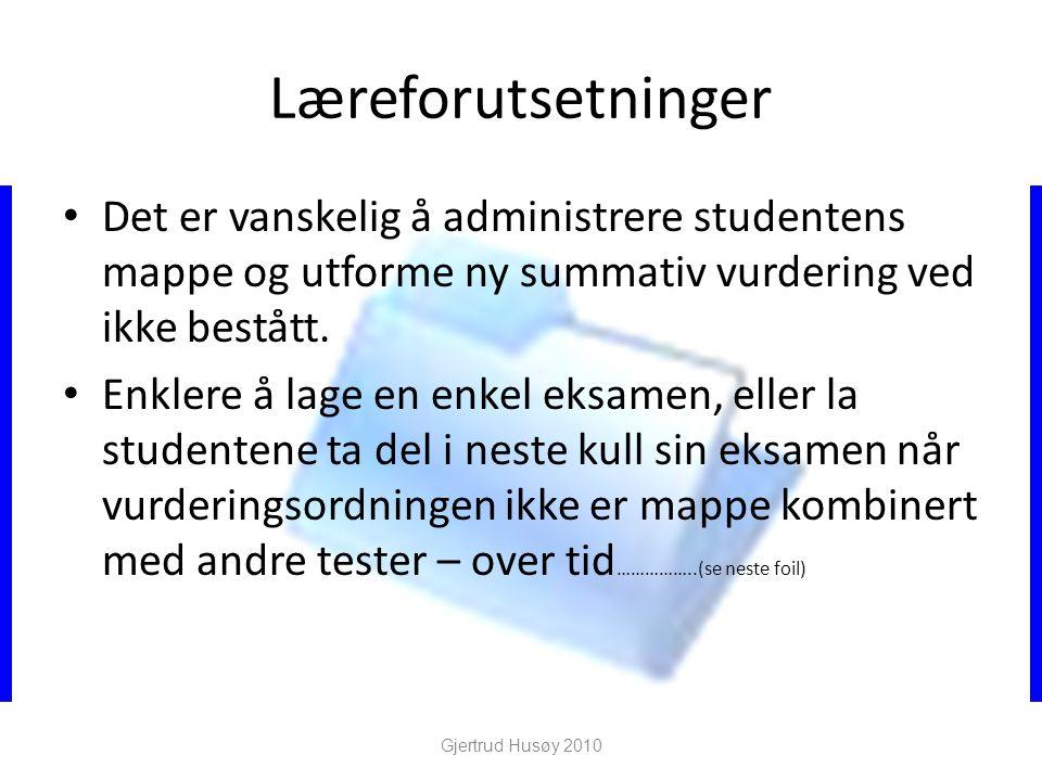 Læreforutsetninger Det er vanskelig å administrere studentens mappe og utforme ny summativ vurdering ved ikke bestått.