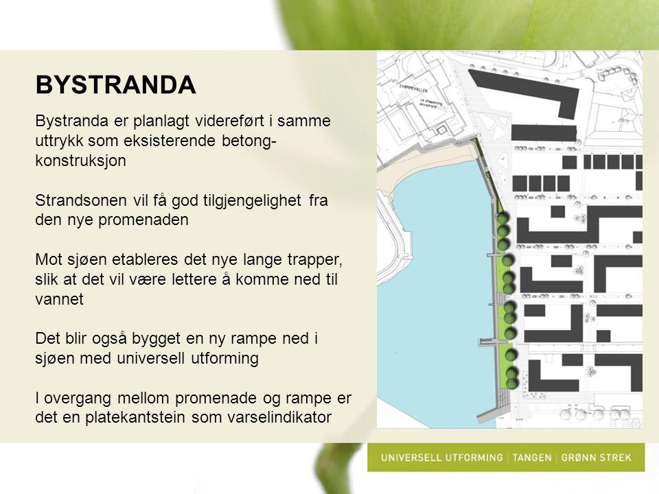 BYSTRANDA Bystranda er planlagt videreført i samme uttrykk som eksisterende betong-konstruksjon.