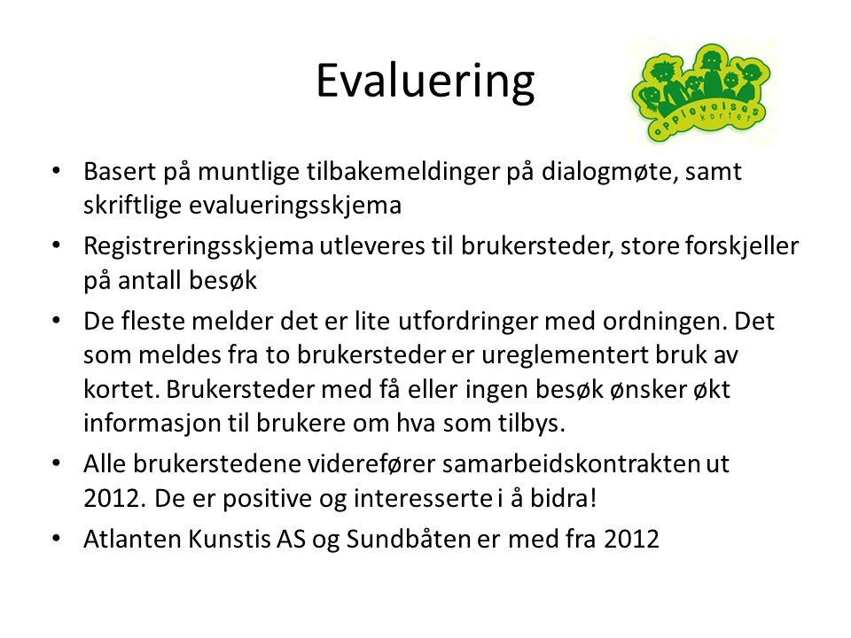Evaluering Basert på muntlige tilbakemeldinger på dialogmøte, samt skriftlige evalueringsskjema.