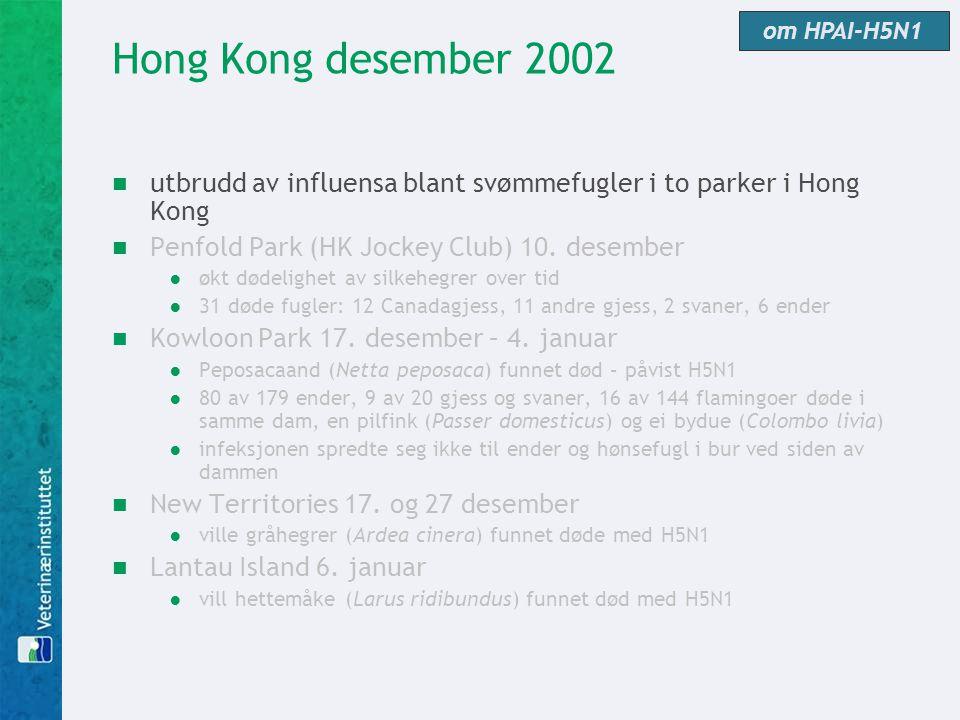 om HPAI-H5N1 Hong Kong desember 2002. utbrudd av influensa blant svømmefugler i to parker i Hong Kong.