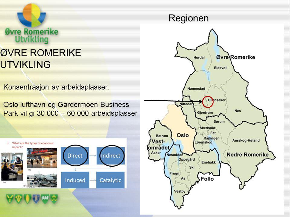 Regionen ØVRE ROMERIKE UTVIKLING Konsentrasjon av arbeidsplasser.