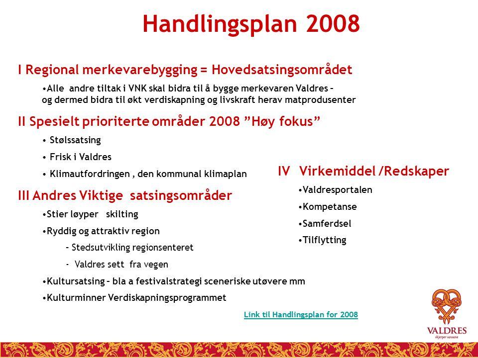 Handlingsplan 2008 I Regional merkevarebygging = Hovedsatsingsområdet