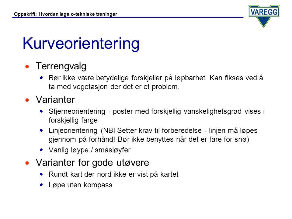 Kurveorientering Terrengvalg Varianter Varianter for gode utøvere