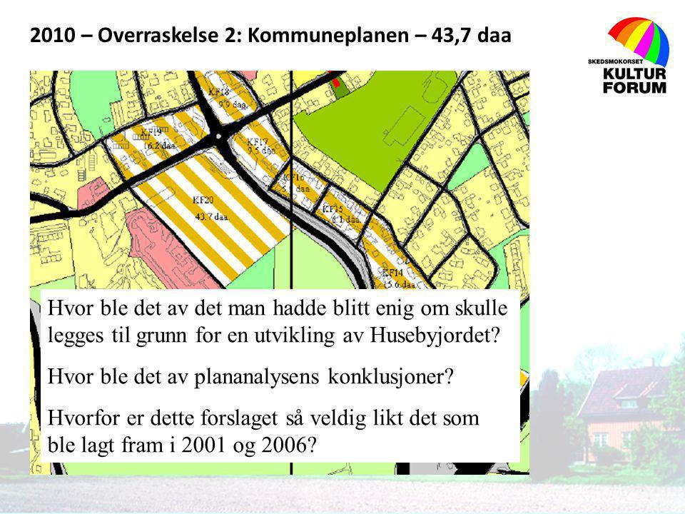 2010 – Overraskelse 2: Kommuneplanen – 43,7 daa