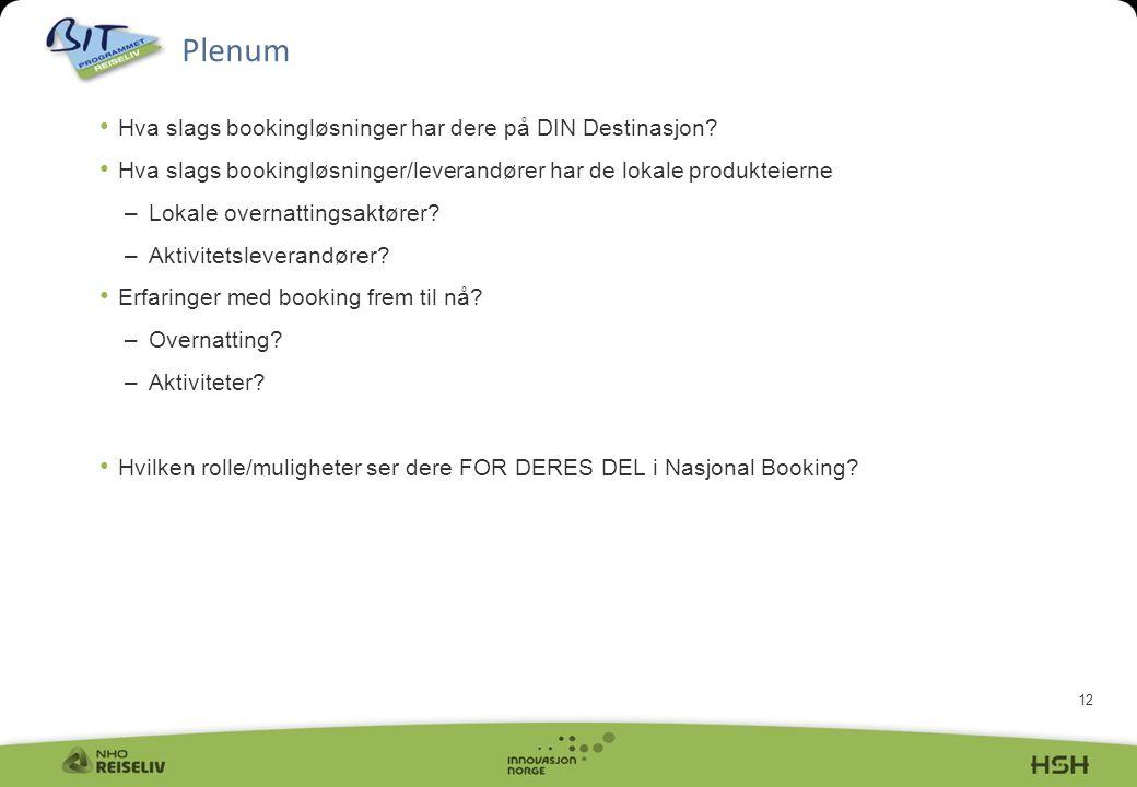 Plenum Hva slags bookingløsninger har dere på DIN Destinasjon