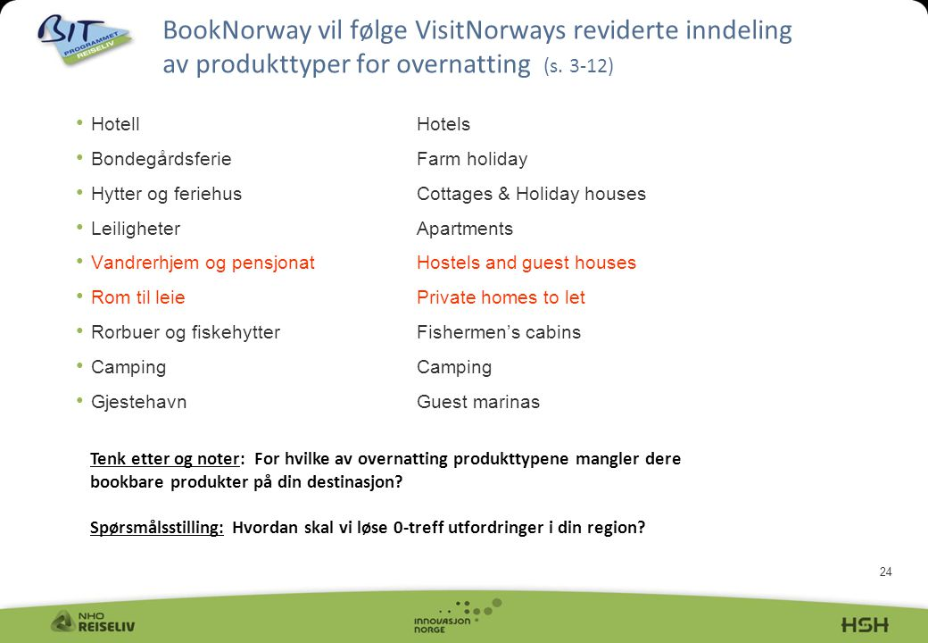BookNorway vil følge VisitNorways reviderte inndeling av produkttyper for overnatting (s. 3-12)