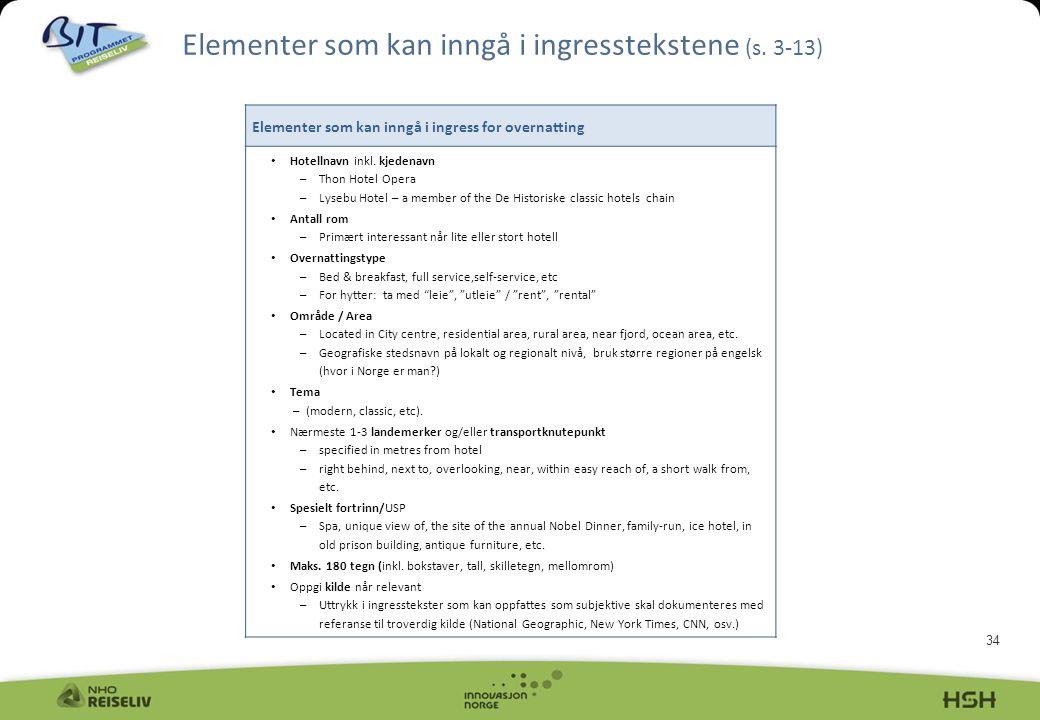 Elementer som kan inngå i ingresstekstene (s. 3-13)