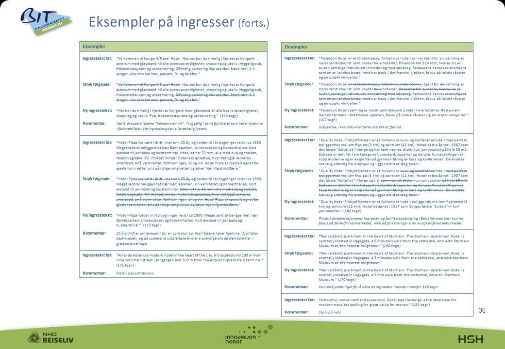 Eksempler på ingresser (forts.)