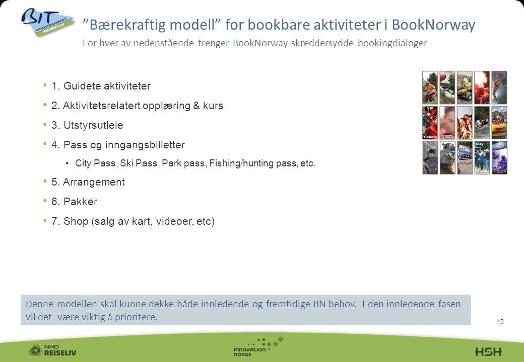 Bærekraftig modell for bookbare aktiviteter i BookNorway For hver av nedenstående trenger BookNorway skreddersydde bookingdialoger