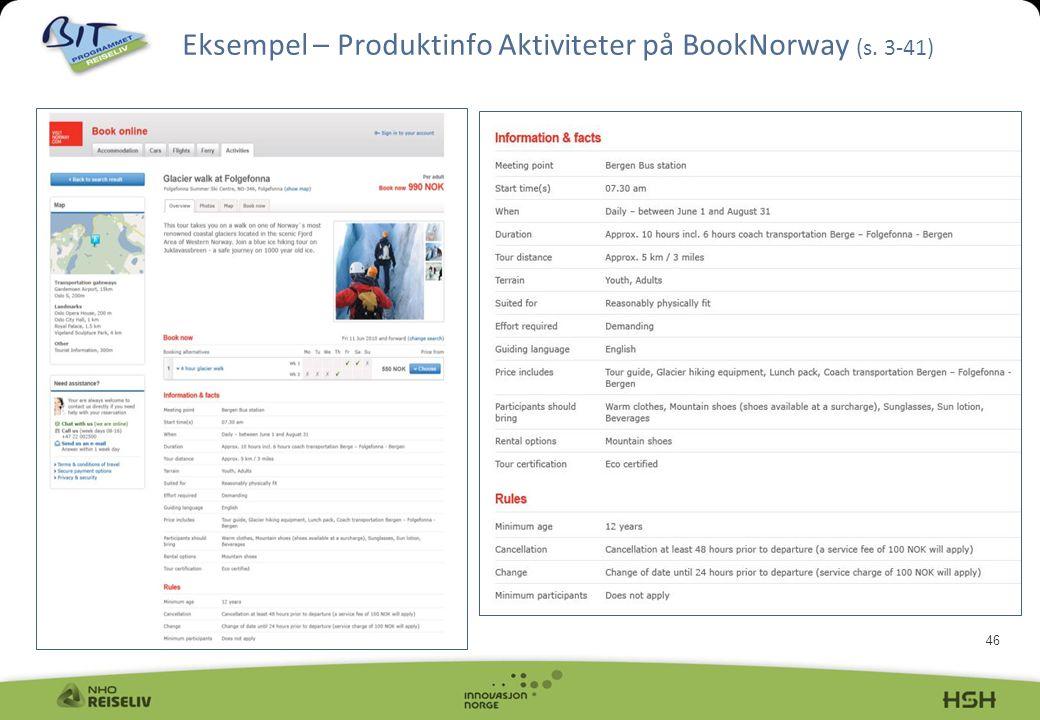Eksempel – Produktinfo Aktiviteter på BookNorway (s. 3-41)