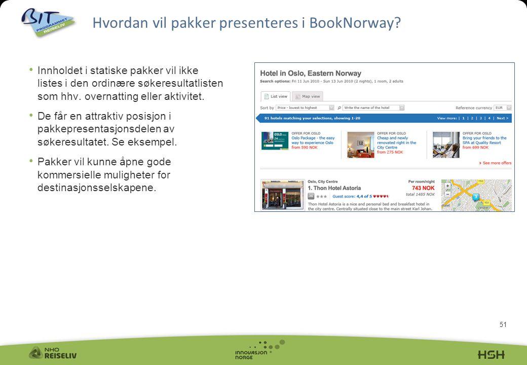 Hvordan vil pakker presenteres i BookNorway