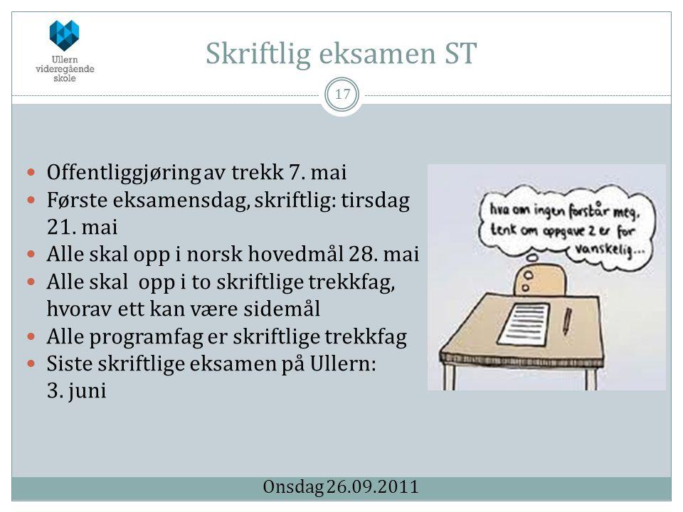 Skriftlig eksamen ST Offentliggjøring av trekk 7. mai