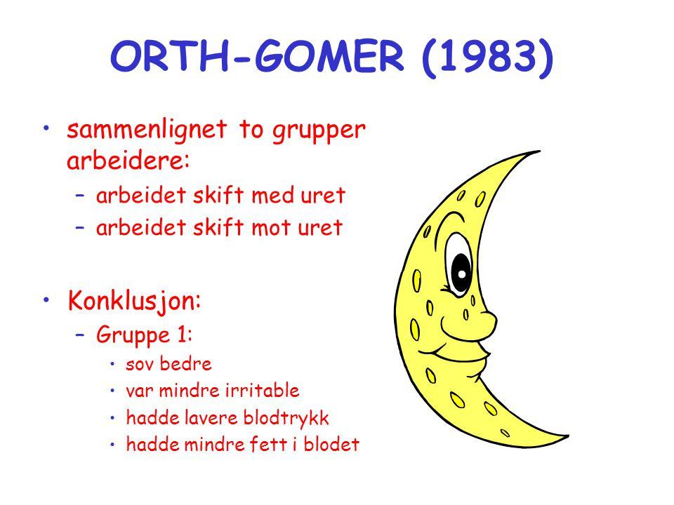 ORTH-GOMER (1983) sammenlignet to grupper arbeidere: Konklusjon: