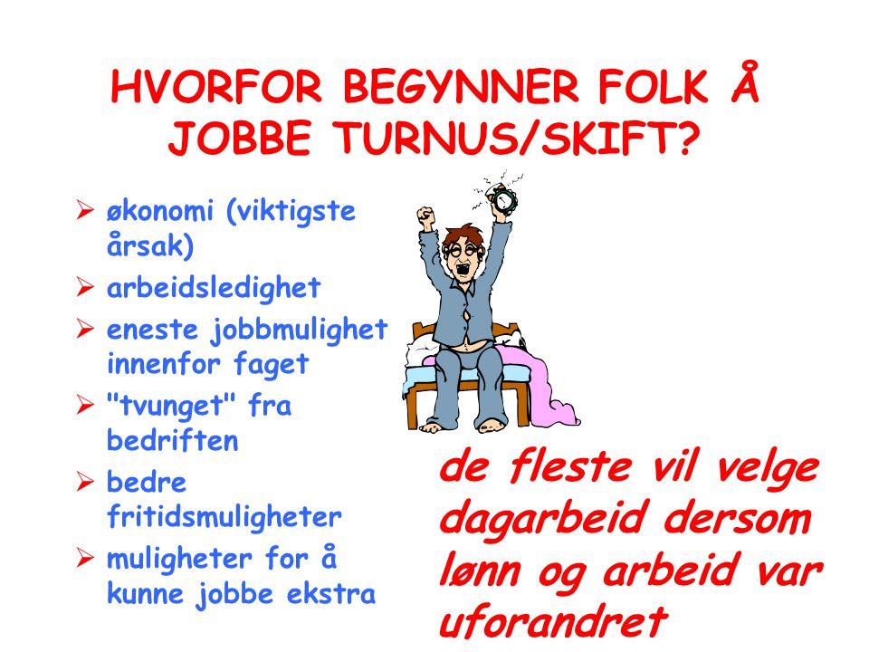 HVORFOR BEGYNNER FOLK Å JOBBE TURNUS/SKIFT