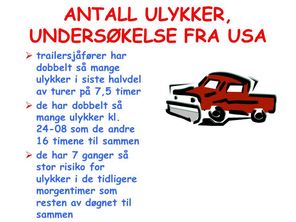ANTALL ULYKKER, UNDERSØKELSE FRA USA
