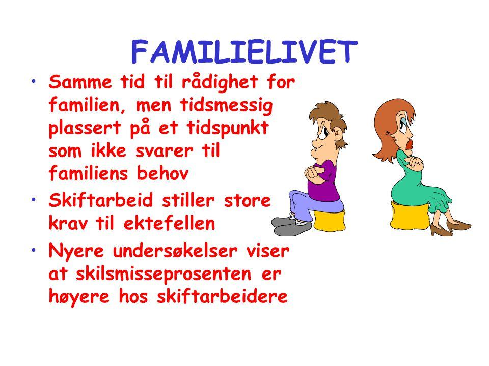 FAMILIELIVET Samme tid til rådighet for familien, men tidsmessig plassert på et tidspunkt som ikke svarer til familiens behov.