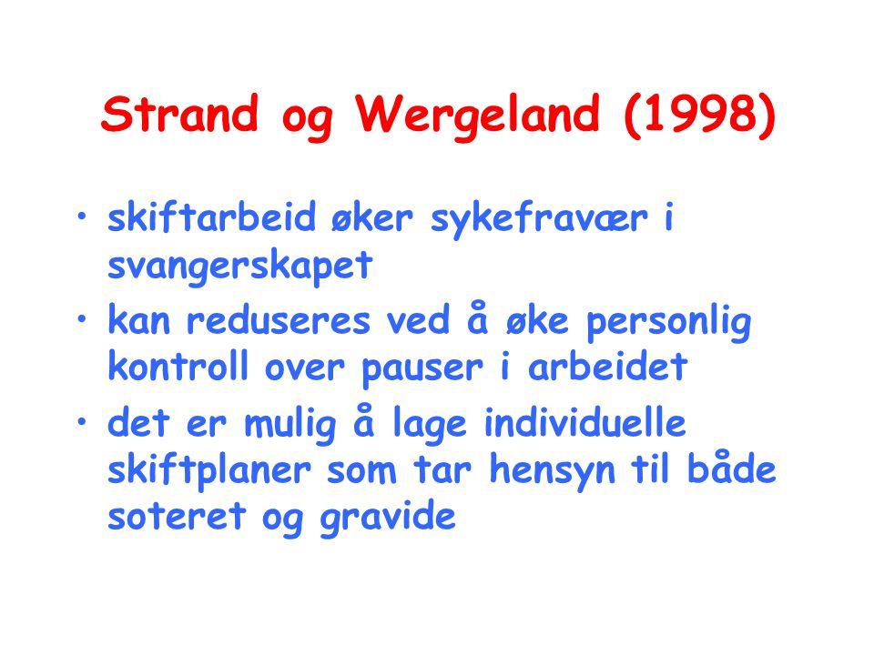 Strand og Wergeland (1998) skiftarbeid øker sykefravær i svangerskapet