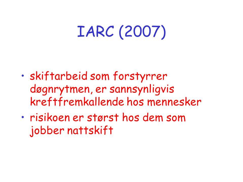 IARC (2007) skiftarbeid som forstyrrer døgnrytmen, er sannsynligvis kreftfremkallende hos mennesker.
