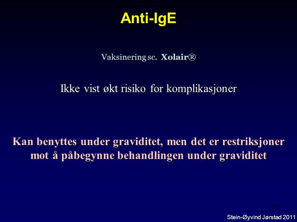 Anti-IgE Ikke vist økt risiko for komplikasjoner