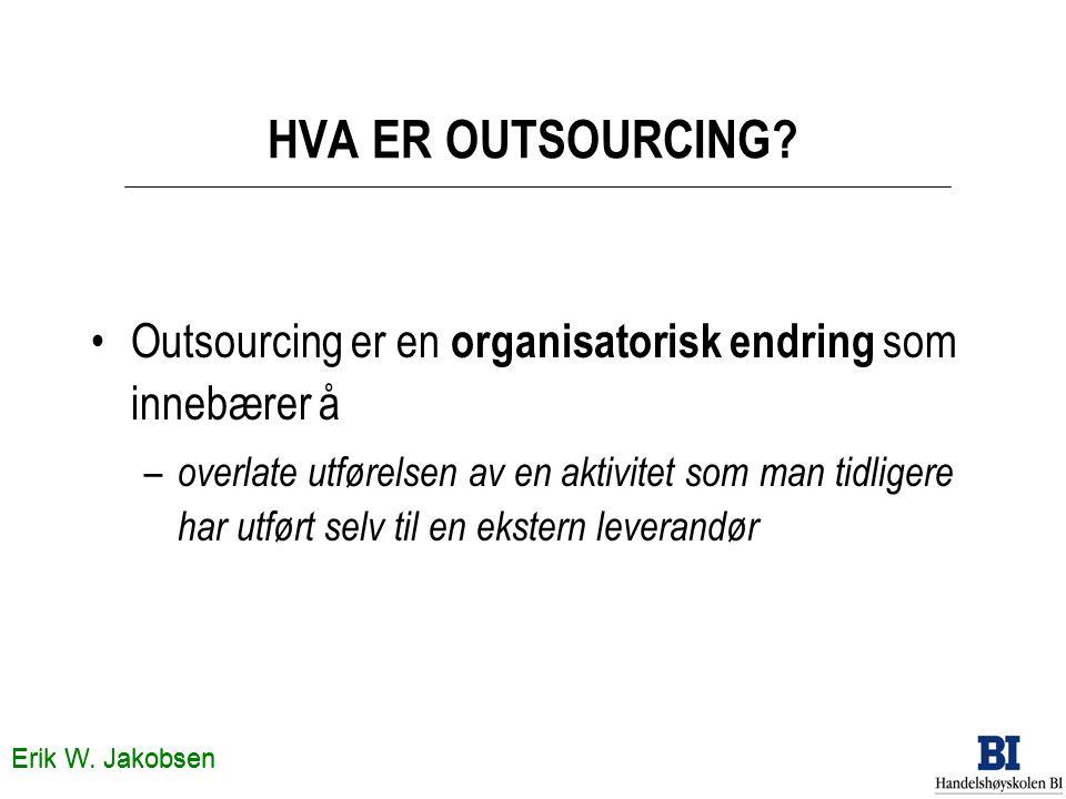 HVA ER OUTSOURCING Outsourcing er en organisatorisk endring som innebærer å.